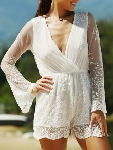 Full Lace Plunging Neck Long Sleeve Romper - White S