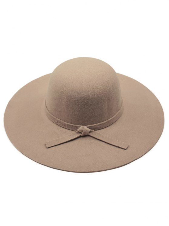 womens Solid Color Felt Floppy Hat - DARK KHAKI