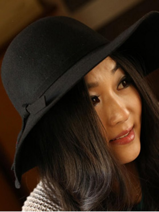 Solid Color Felt Floppy Hat - BLACK  Mobile