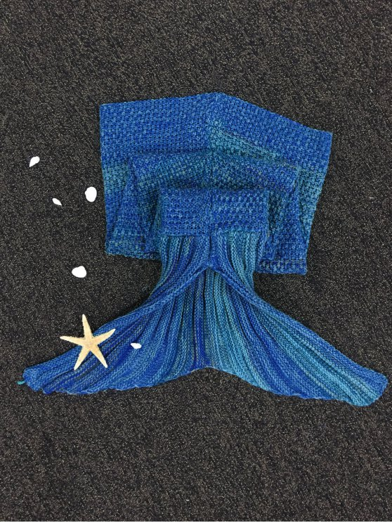 Stripe Knitted Mermaid Tail Blanket - DEEP BLUE  Mobile