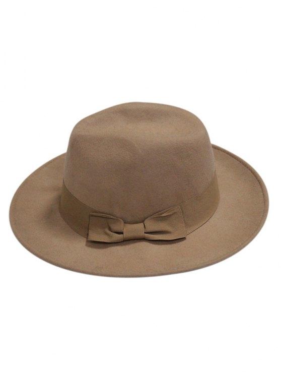 Bowknot Felt Fedora Hat - KHAKI  Mobile