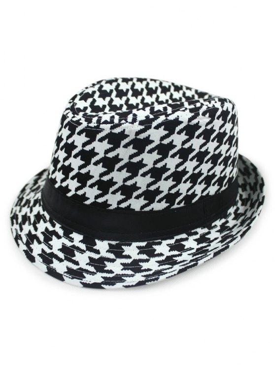 shop Houndstooth Fedora Hat - BLACK
