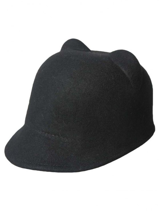 womens Solid Color Cat Ear Hat - BLACK