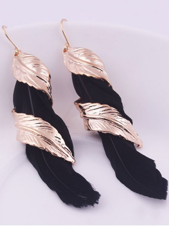 Alloy Feather Earrings - BLACK  Mobile