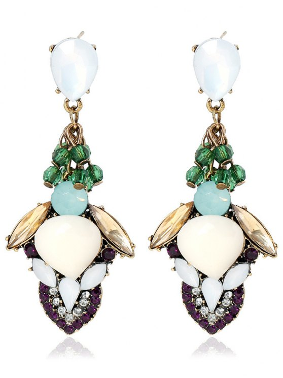 Stacked Faux Gem Boucles d'oreilles - Multicolore