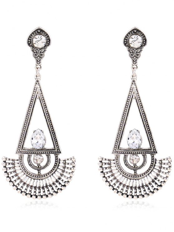 Boucles d'oreilles strass Fan Dangle - Argent