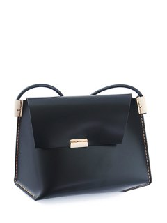 Stitching Black Crossbody Bag - Black