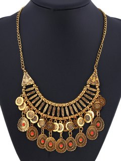 Embossed Coin Fringed Necklace - Golden