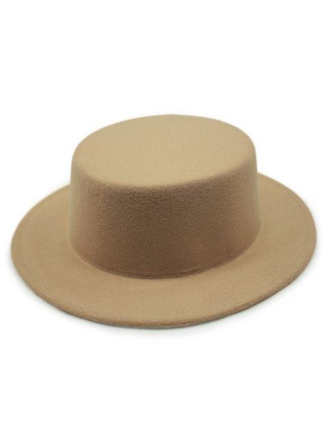 ladies Flat Top Felt Fedora Hat - KHAKI  Mobile