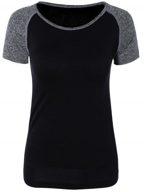 ladies Color Block Sport Running Gym T-Shirt - BLACK M Mobile