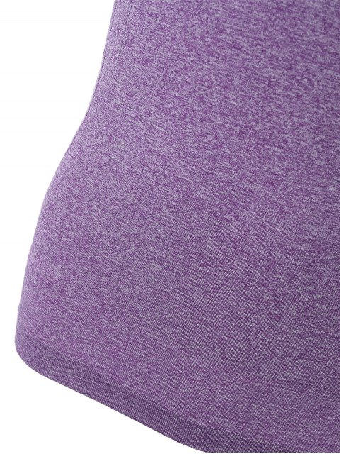 best Color Block Sport Running Gym T-Shirt - PURPLE L Mobile