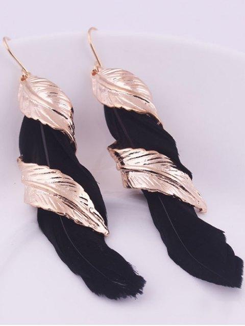 shops Alloy Feather Earrings - BLACK  Mobile