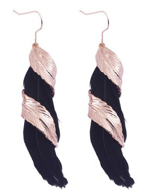 Alloy Feather Earrings - Black