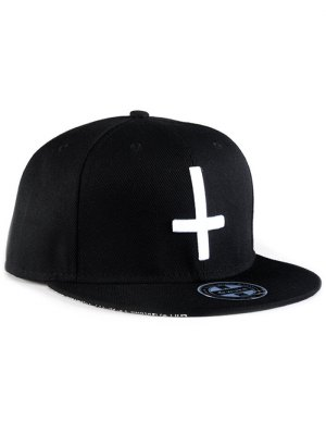 Cross Embroidery Snapback Hat - Black