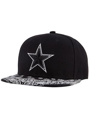 Pentagram Embroidery Snapback Hat - Black