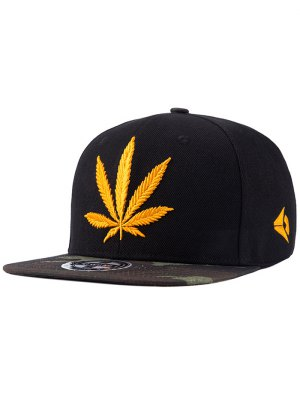 Hemp Leaf Embroidered Snapback Hat - Black