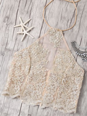 Halter See-Through Lace Tank Top - Golden