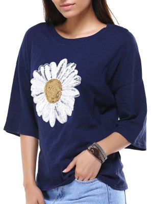 Sun Flower Round Neck 3/4 Sleeve Sequins T-Shirt - Deep Blue