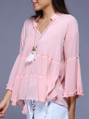 Plus Size Bell Sleeve Solid Color Blouse - Pink
