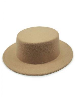 Flat Top Felt Fedora Hat - Khaki