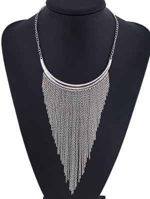 Long Chain Fringe Necklace - Silver