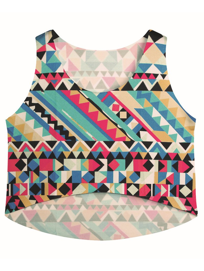 Scoop Neck Geometric Print Tank Top