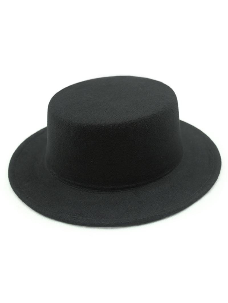 Solid Color Flat Top Felt Fedora Hat