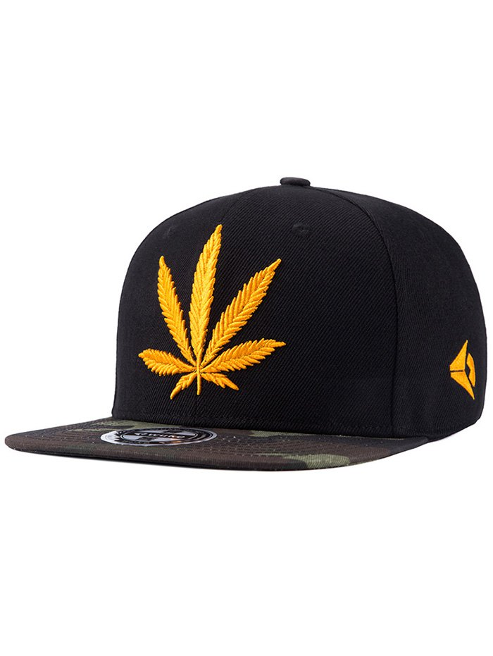 Hemp Leaf Letters Embroidery Camouflage Pattern Snapback Hat