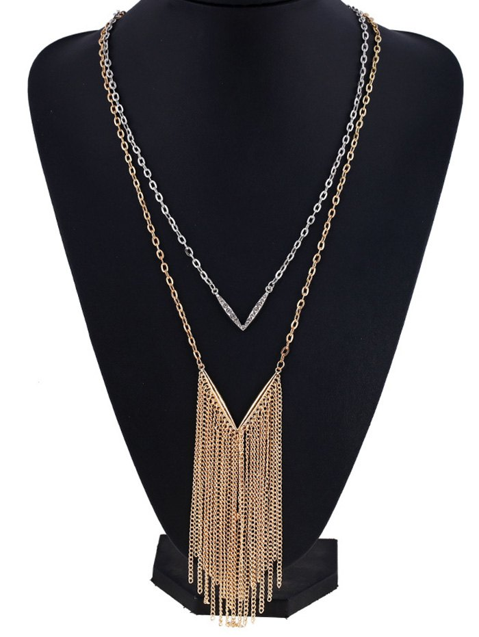 V Shape Chain Fringed Layered Necklace