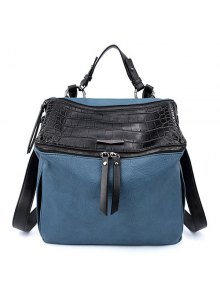 Crocodile Print Color Block Zips Satchel - Blue