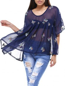 Cami Top And Butterfly Print V-Neck T-Shirt Twinset - Purplish Blue 2xl