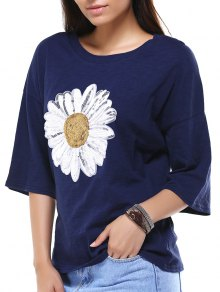 Sun Flower Round Neck 3/4 Sleeve Sequins T-Shirt - Deep Blue 2xl