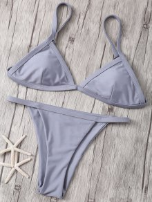 Solid Color Spaghetti Strap Low Waisted Bikini Set - Gray