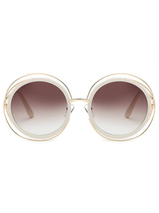 Cut Out Round Sunglasses - TEA-COLORED  Mobile