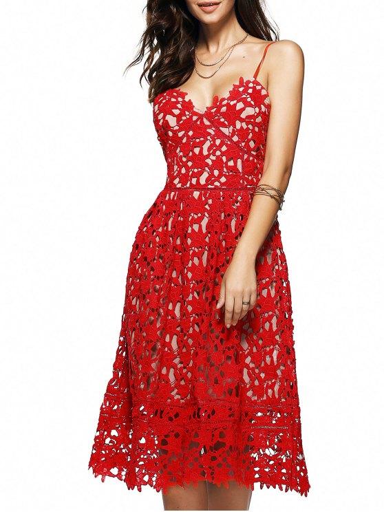 Tirantes delgados cortaron el vestido de la flor de ganchillo - Rojo S