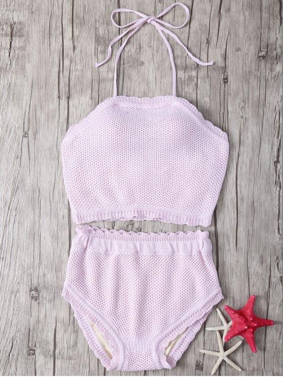 Ganchillo Halter Bikini de talle alto - Rosado Claro Un tamaño(Montar tam