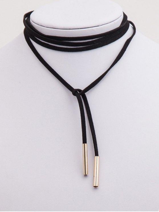 Bar Layered Wrap Necklace - BLACK  Mobile