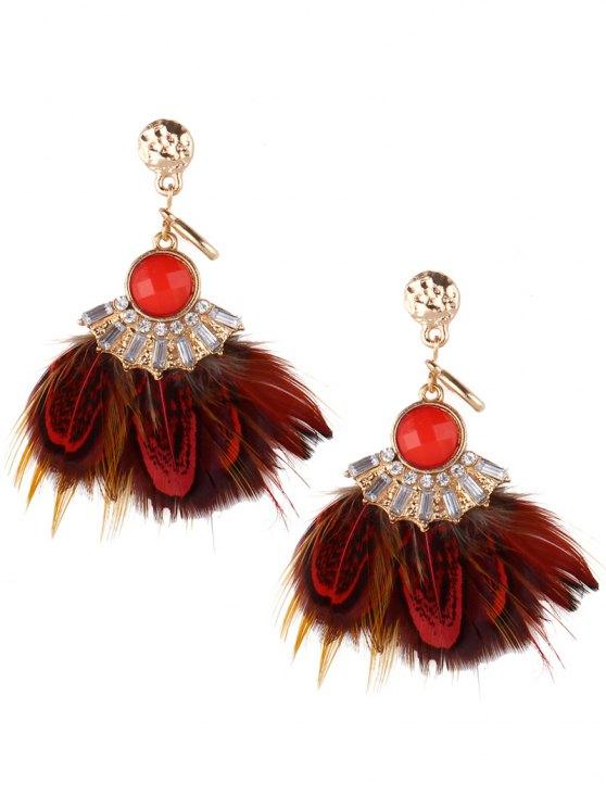 Boucles d'oreilles plumes strass - Rouge