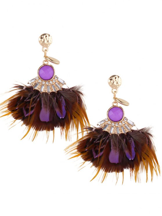 Rhinestone Feather Drop Earrings - Pourpre