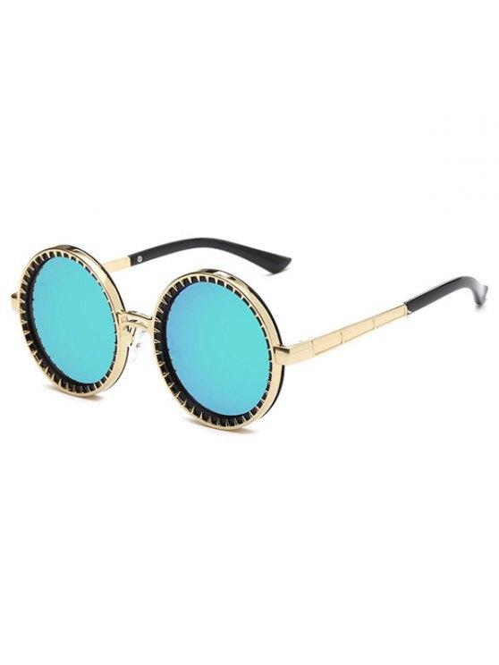 latest Vintage Round Mirrored Sunglasses - GREEN