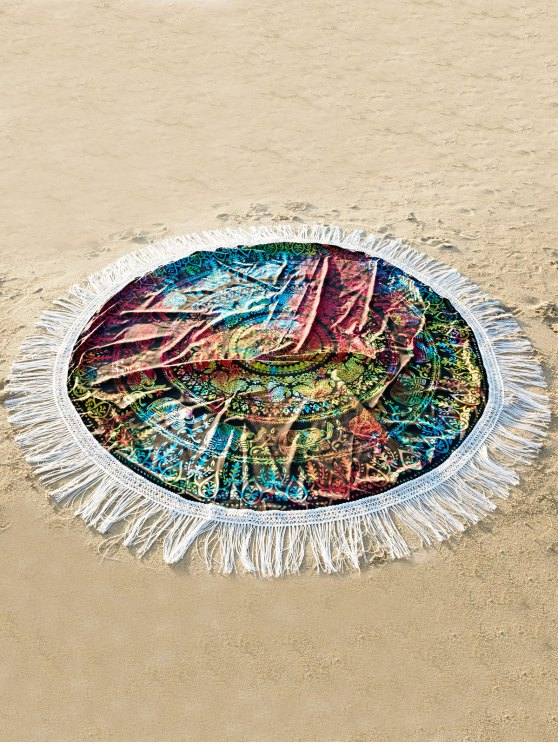 affordable Fringed Colorful Beach Mat - COLORMIX ONE SIZE(FIT SIZE XS TO M)