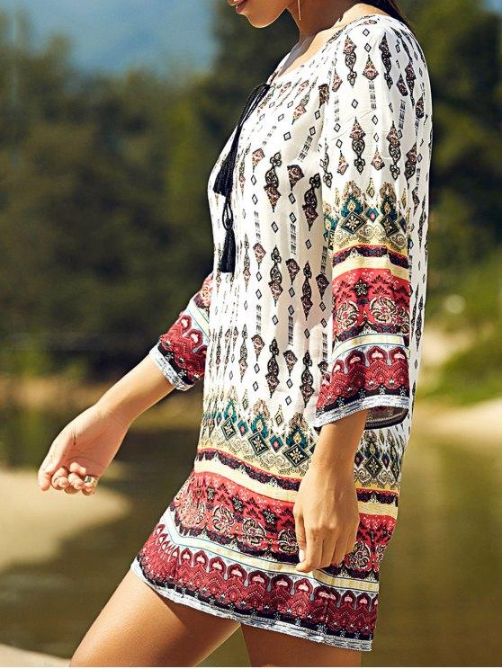 Retro Print Round Neck 3/4 Sleeve Dress - WHITE S Mobile