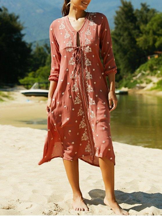 V Neck 3/4 Sleeve Embroidered Ethnic Style Dress - CLARET L Mobile