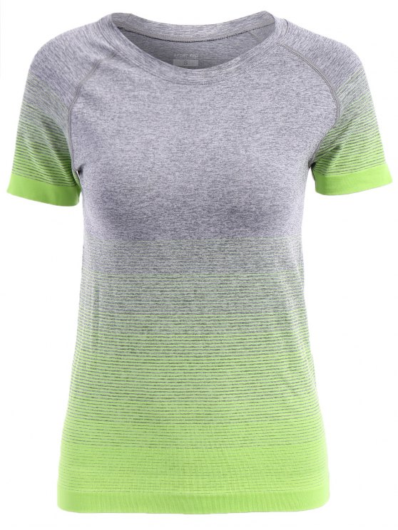 best Ombre Color Running T-Shirt - APPLE GREEN L