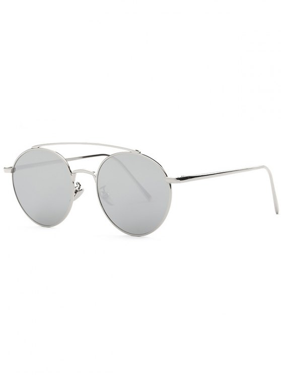 Metal Frame Mirrored Sunglasses - SILVER  Mobile