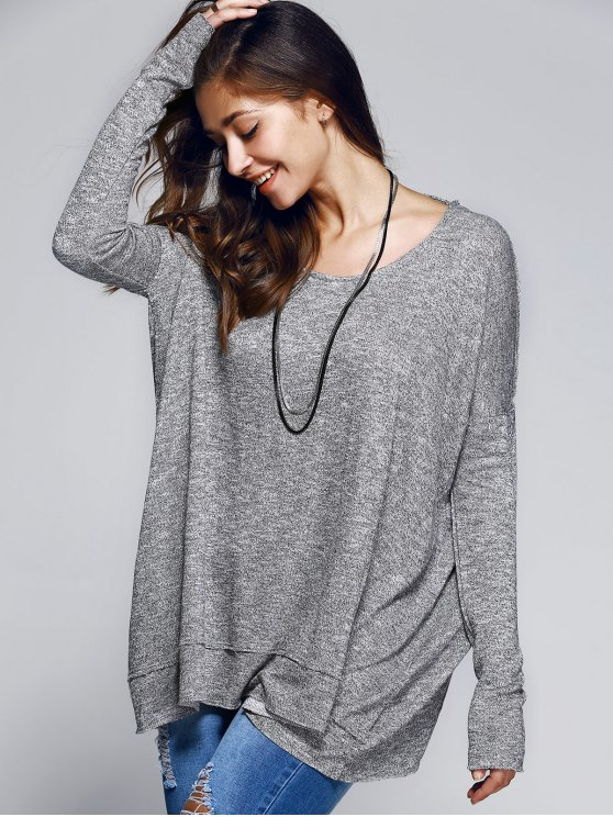 Back Cutout Round Neck Long Sleeve T-Shirt - GRAY S Mobile