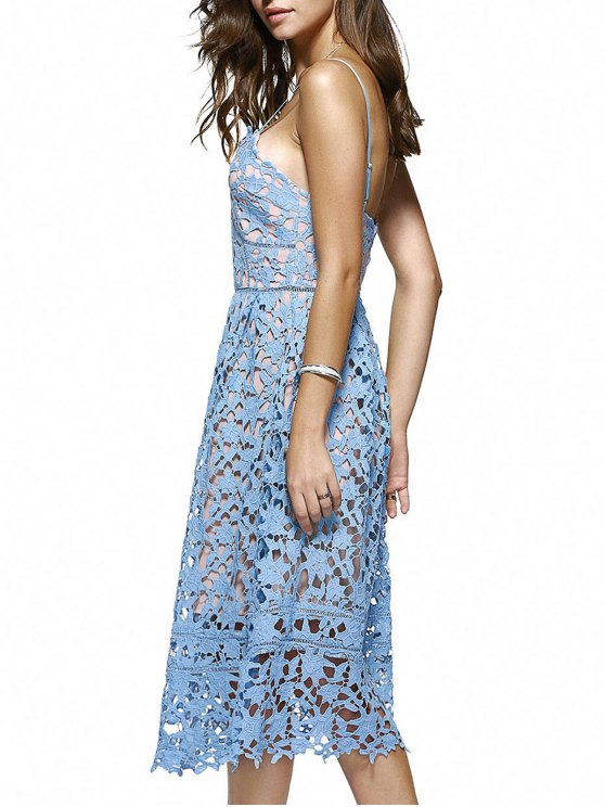 Cami Crochet Flower Midi Dress - AZURE S Mobile