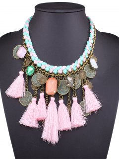 Faux Gem Coin Tassel Necklace - Pink
