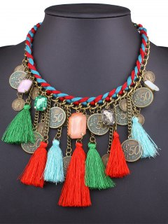 Knitted Rope Coin Tassel Necklace