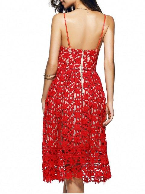 fancy Cami Crochet Flower Midi Dress - RED L Mobile